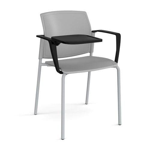 Santana 4 leg stacking chair with plastic seat and back and grey frame with arms and writing tablet - grey
