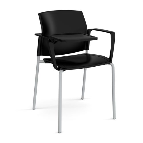 Santana 4 leg stacking chair with plastic seat and back and grey frame with arms and writing tablet - black