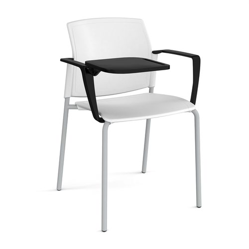 Santana 4 leg stacking chair with plastic seat and back and grey frame with arms and writing tablet - white