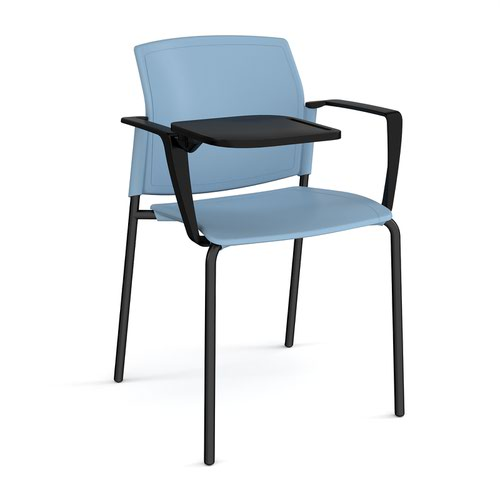 Santana 4 leg stacking chair with plastic seat and back and black frame with arms and writing tablet - blue