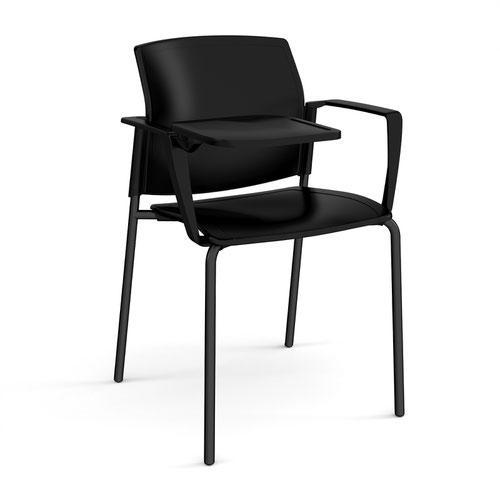 Santana 4 leg stacking chair with plastic seat and back and black frame with arms and writing tablet - black