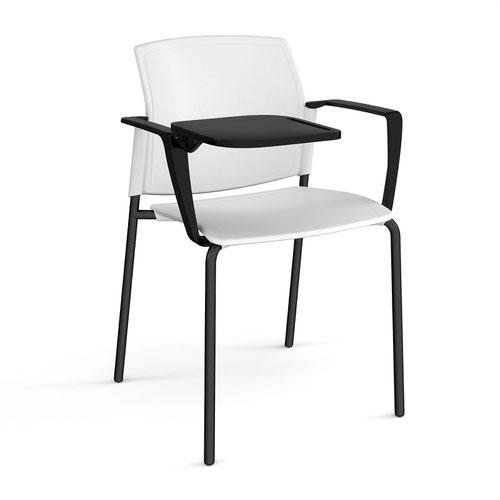 Santana 4 leg stacking chair with plastic seat and back and black frame with arms and writing tablet - white