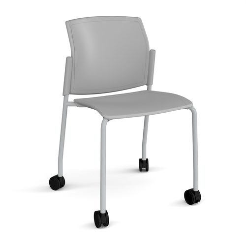 Santana 4 leg mobile chair with plastic seat and back and grey frame with castors and no arms - grey