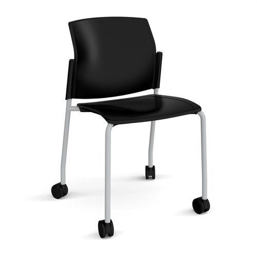 Santana 4 leg mobile chair with plastic seat and back and grey frame with castors and no arms - black
