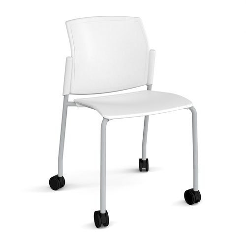 Santana 4 leg mobile chair with plastic seat and back and grey frame with castors and no arms - white