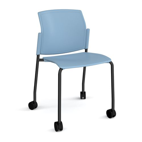 Santana 4 leg mobile chair with plastic seat and back and black frame with castors and no arms - blue