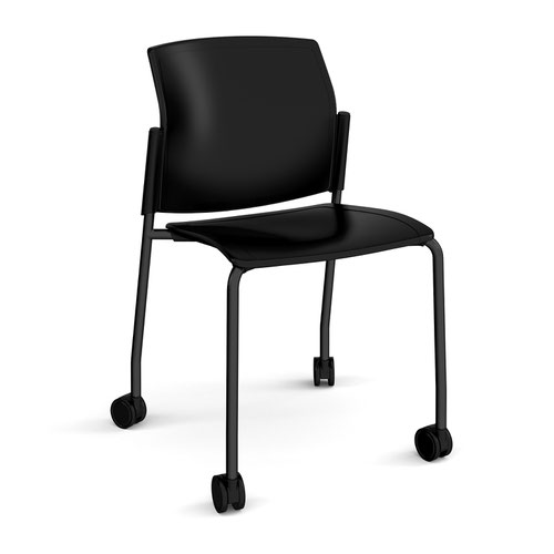 Santana 4 leg mobile chair with plastic seat and back and black frame with castors and no arms - black