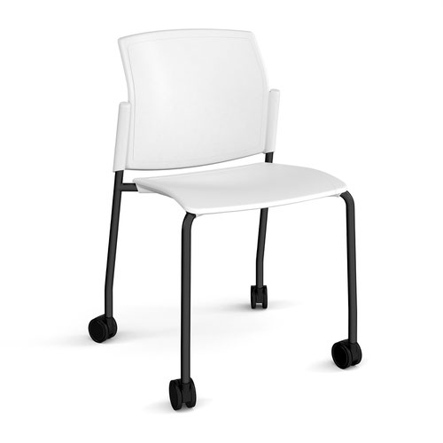 Santana 4 leg mobile chair with plastic seat and back and black frame with castors and no arms - white