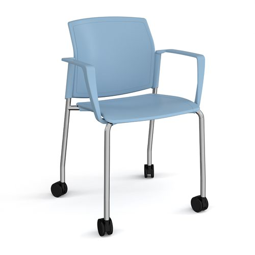 Santana 4 leg mobile chair with plastic seat and back and chrome frame with castors and fixed arms - blue