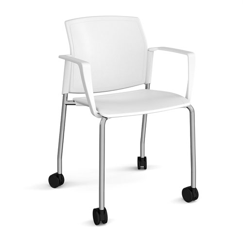 Santana 4 leg mobile chair with plastic seat and back and chrome frame with castors and fixed arms - white