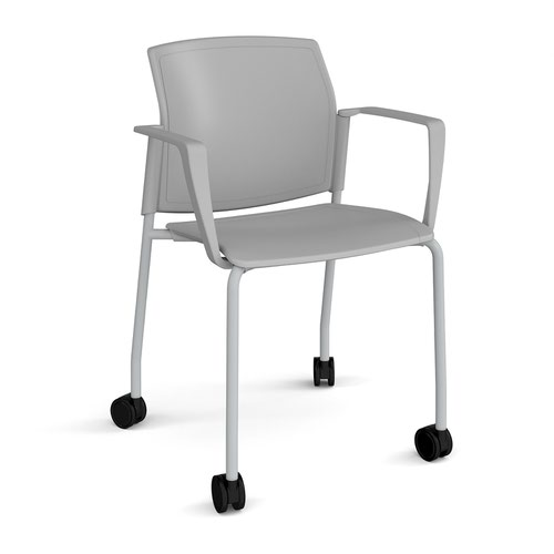 Santana 4 leg mobile chair with plastic seat and back and grey frame with castors and fixed arms - grey