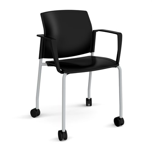 Santana 4 leg mobile chair with plastic seat and back and grey frame with castors and fixed arms - black