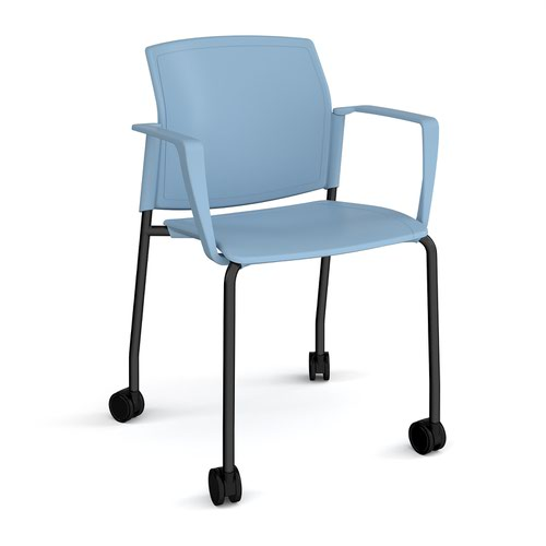 Santana 4 leg mobile chair with plastic seat and back and black frame with castors and fixed arms - blue