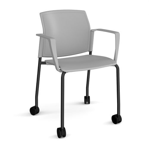 Santana 4 leg mobile chair with plastic seat and back and black frame with castors and fixed arms - grey