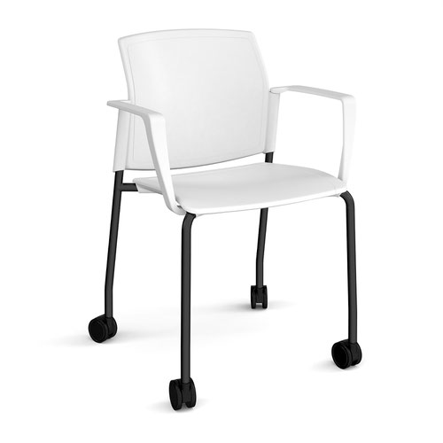 Santana 4 leg mobile chair with plastic seat and back and black frame with castors and fixed arms - white