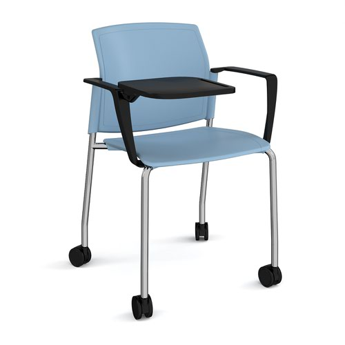 Santana 4 leg mobile chair with plastic seat and back and chrome frame with castors and arms and writing tablet - blue