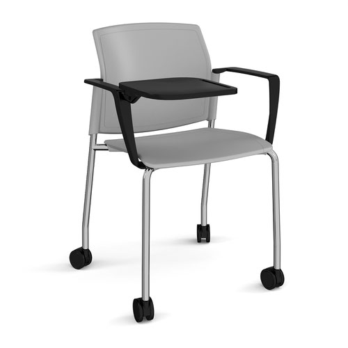 Santana 4 leg mobile chair with plastic seat and back and chrome frame with castors and arms and writing tablet - grey