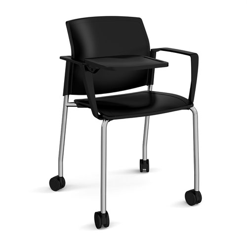 Santana 4 leg mobile chair with plastic seat and back and chrome frame with castors and arms and writing tablet - black