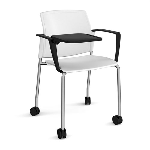 Santana 4 leg mobile chair with plastic seat and back and chrome frame with castors and arms and writing tablet - white