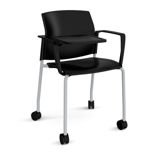 Santana 4 leg mobile chair with plastic seat and back and grey frame with castors and arms and writing tablet - black
