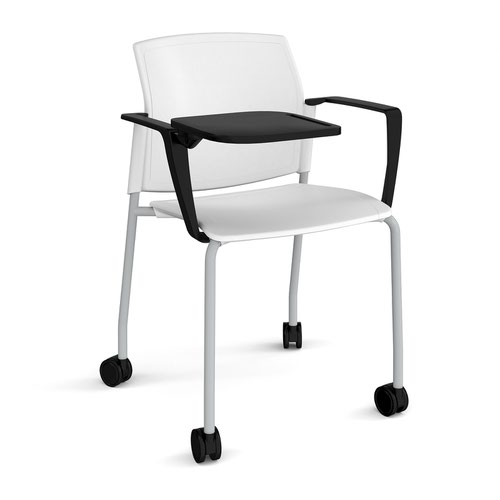 Santana 4 leg mobile chair with plastic seat and back and grey frame with castors and arms and writing tablet - white