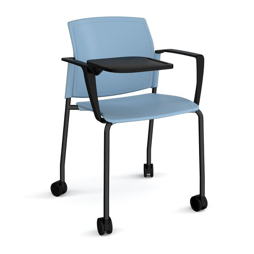 Santana 4 leg mobile chair with plastic seat and back and black frame with castors and arms and writing tablet - blue