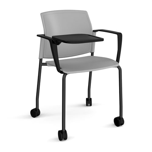 Santana 4 leg mobile chair with plastic seat and back and black frame with castors and arms and writing tablet - grey