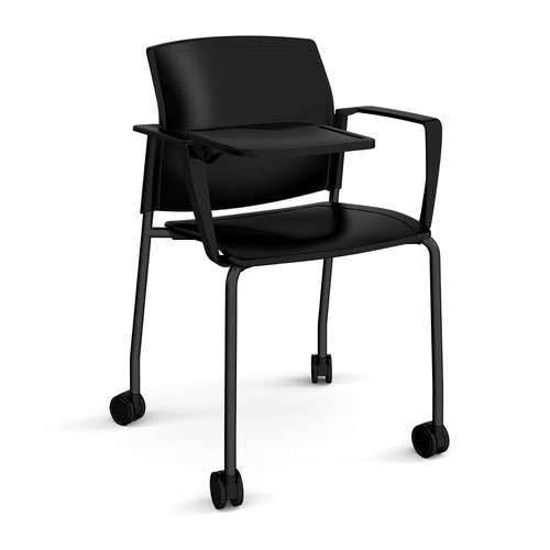 Santana 4 leg mobile chair with plastic seat and back and black frame with castors and arms and writing tablet - black