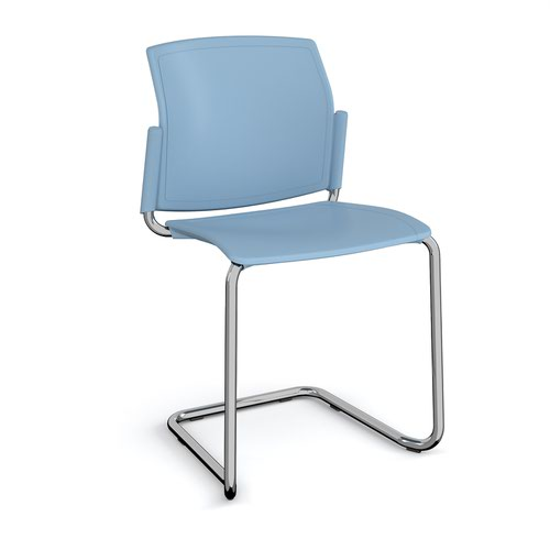 Santana cantilever chair with plastic seat and back and chrome frame and no arms - blue