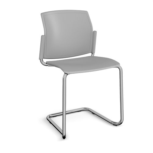 Santana cantilever chair with plastic seat and back and chrome frame and no arms - grey