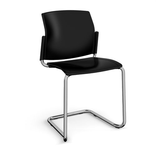 Santana cantilever chair with plastic seat and back and chrome frame and no arms - black