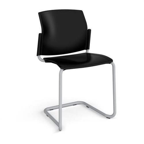 Santana cantilever chair with plastic seat and back and grey frame and no arms - black