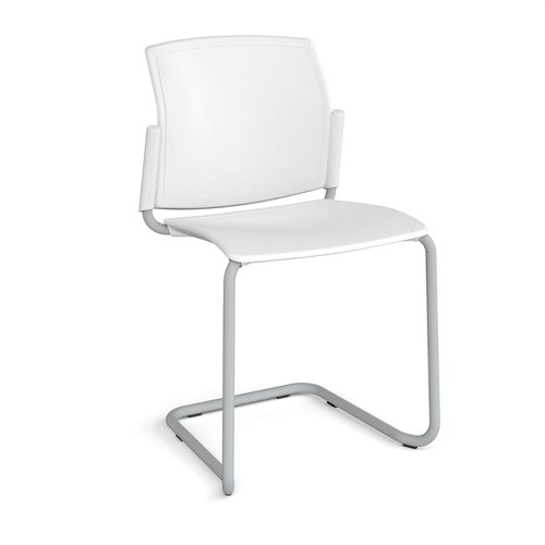 Santana cantilever chair with plastic seat and back and grey frame and no arms - white