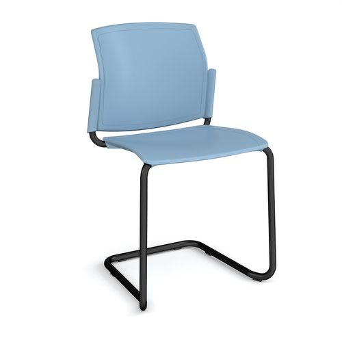 Santana cantilever chair with plastic seat and back and black frame and no arms - blue