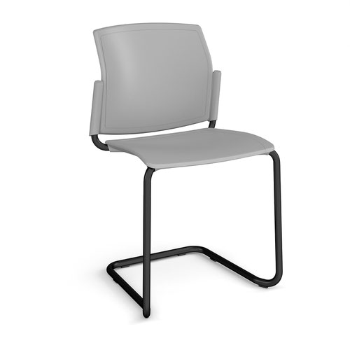 Santana cantilever chair with plastic seat and back and black frame and no arms - grey