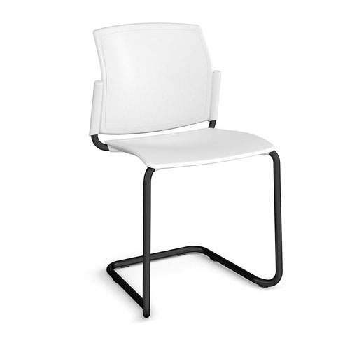 Santana cantilever chair with plastic seat and back and black frame and no arms - white