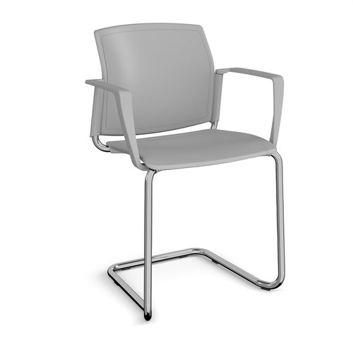 Santana cantilever chair with plastic seat and back and chrome frame and fixed arms - grey