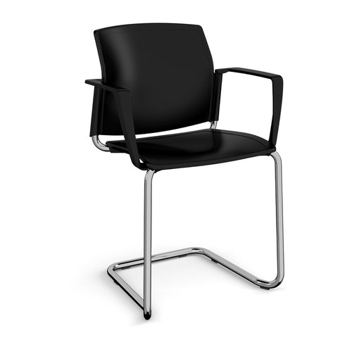 Santana cantilever chair with plastic seat and back and chrome frame and fixed arms - black