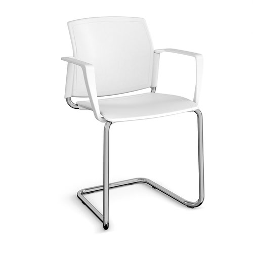 Santana cantilever chair with plastic seat and back and chrome frame and fixed arms - white