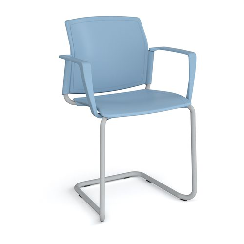 Santana cantilever chair with plastic seat and back and grey frame and fixed arms - blue