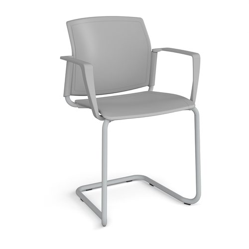Santana cantilever chair with plastic seat and back and grey frame and fixed arms - grey