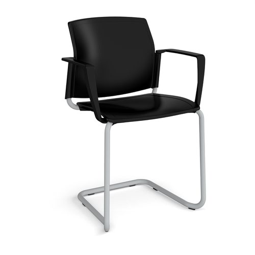 Santana cantilever chair with plastic seat and back and grey frame and fixed arms - black