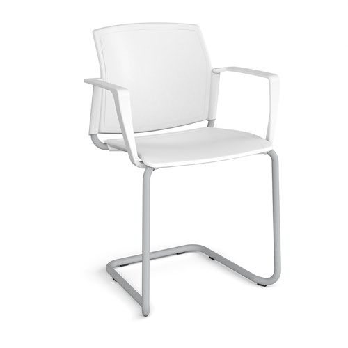 Santana cantilever chair with plastic seat and back and grey frame and fixed arms - white