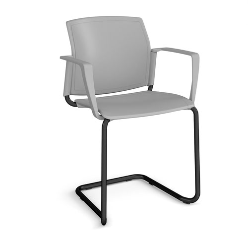 Santana cantilever chair with plastic seat and back and black frame and fixed arms - grey