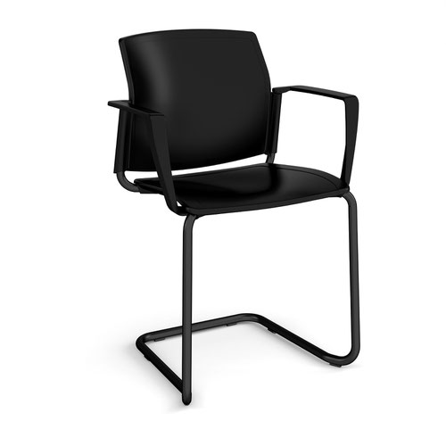 Santana cantilever chair with plastic seat and back and black frame and fixed arms - black