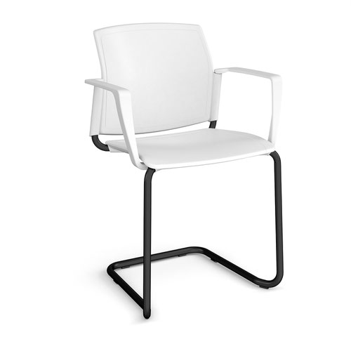 Santana cantilever chair with plastic seat and back and black frame and fixed arms - white
