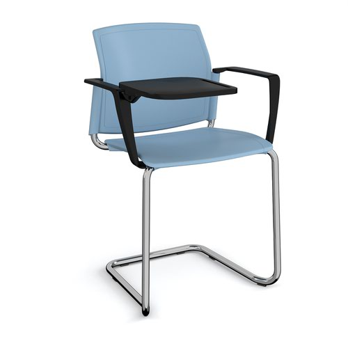 Santana cantilever chair with plastic seat and back and chrome frame with arms and writing tablet - blue