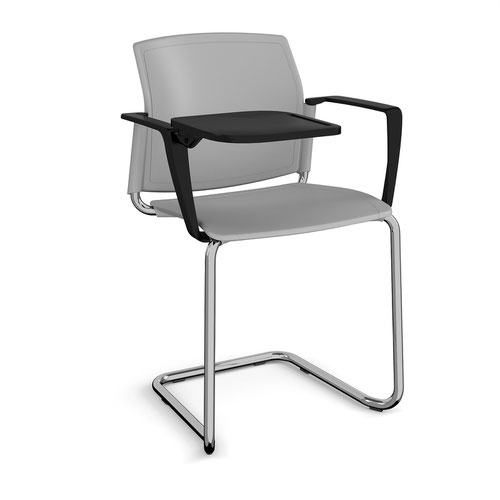 Santana cantilever chair with plastic seat and back and chrome frame with arms and writing tablet - grey
