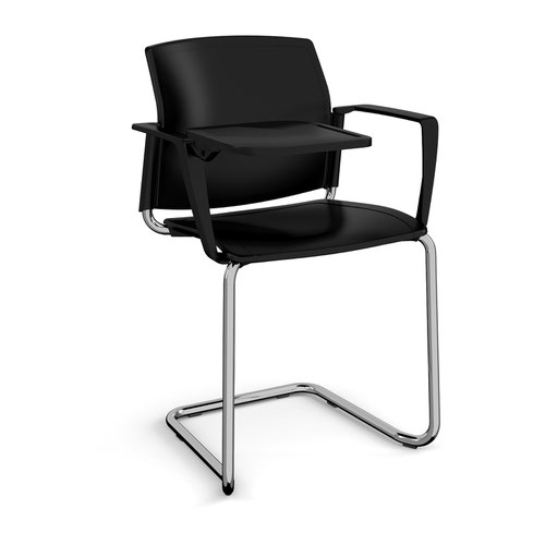 Santana cantilever chair with plastic seat and back and chrome frame with arms and writing tablet - black