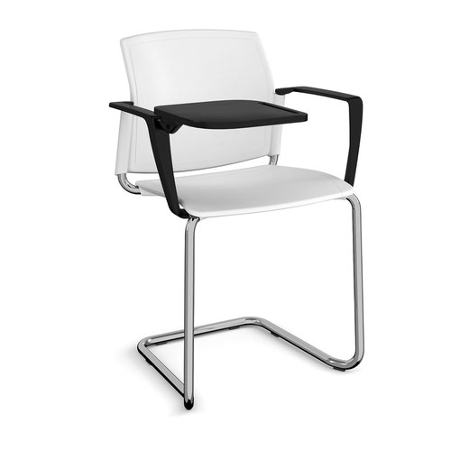 Santana cantilever chair with plastic seat and back and chrome frame with arms and writing tablet - white